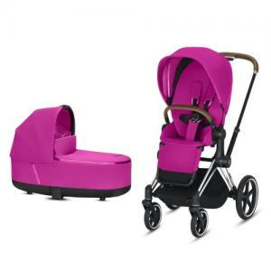 Cybex Priam Complete Stroller with Chrome Chassis Brown Leatherette LUX Seat & LUX Carry Cot Fancy Pink NEW!