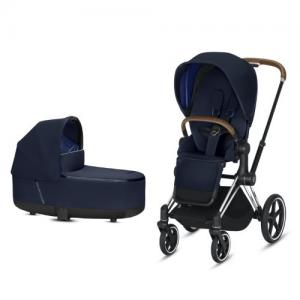 Cybex Priam Complete Stroller with Chrome Chassis Brown Leatherette LUX Seat & LUX Carry Cot Indigo Blue NEW!