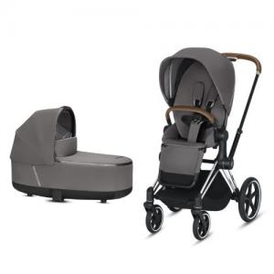 Cybex Priam Complete Stroller with Chrome Chassis Brown Leatherette LUX Seat & LUX Carry Cot Manhattan Grey NEW!