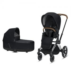 Cybex Priam Complete Stroller with Chrome Chassis Brown Leatherette LUX Seat & LUX Carry Cot Premium Black NEW!