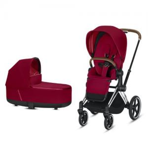 Cybex Priam Complete Stroller with Chrome Chassis Brown Leatherette LUX Seat & LUX Carry Cot True Red NEW!