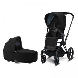 Cybex Priam Complete Stroller with Matt Black Chassis LUX Seat & LUX Carry Cot Deep Black