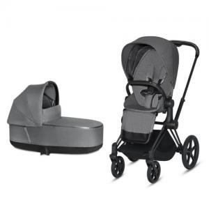 Cybex Priam Complete Stroller with Matt Black Chassis LUX Seat & LUX Carry Cot Manhattan Grey PLUS fabric