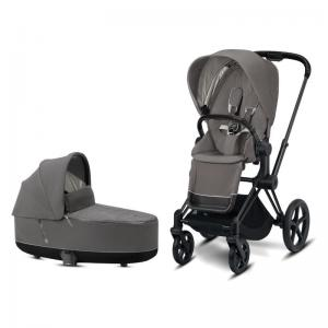 Cybex Priam Complete Stroller with Matt Black Chassis LUX Seat & LUX Carry Cot Soho Grey