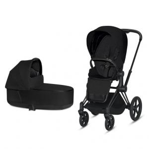 Cybex Priam Complete Stroller with Matt Black Chassis LUX Seat & LUX Carry Cot Stardust Black PLUS fabric