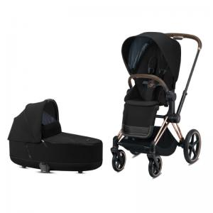 Cybex Priam Complete Stroller with Rosegold Chassis LUX Seat & LUX Carry Cot Deep Black