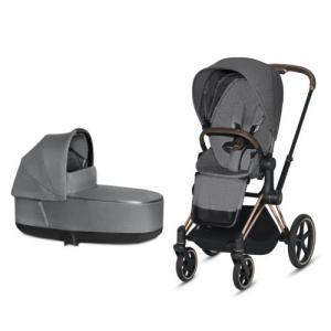 Cybex Priam Complete Stroller with Rosegold Chassis LUX Seat & LUX Carry Cot Manhattan Grey PLUS fabric