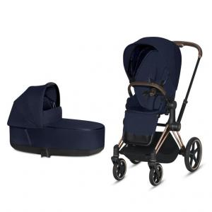 Cybex Priam Complete Stroller with Rosegold Chassis LUX Seat & LUX Carry Cot Midnight Blue PLUS fabric