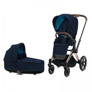 Cybex Priam Complete Stroller with Rosegold Chassis LUX Seat & LUX Carry Cot Nautical Blue
