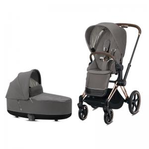 Cybex Priam Complete Stroller with Rosegold Chassis LUX Seat & LUX Carry Cot Soho Grey