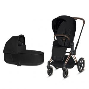 Cybex Priam Complete Stroller with Rosegold Chassis LUX Seat & LUX Carry Cot Stardust Black PLUS fabric