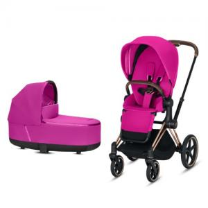 Cybex Priam Komplett Barnvagn med Rosegold Chassi LUX Sittdel & LUX Liggdel Fancy Pink NY!