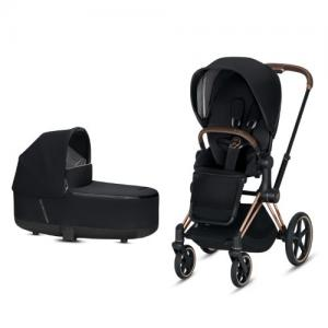 Cybex Priam Komplett Barnvagn med Rosegold Chassi LUX Sittdel & LUX Liggdel Premium Black NY!