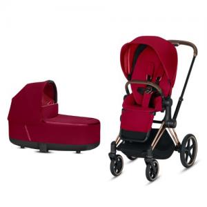 Cybex Priam Komplett Barnvagn med Rosegold Chassi LUX Sittdel & LUX Liggdel True Red NY!