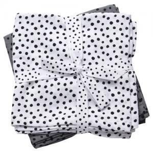 Done By Deer Burp cloth 2-pack Happy Dots Grey