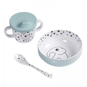 Done By Deer First Meal Happy Dots Blue (Bowl Cup with silicone spout & Spoon)