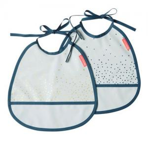 Done By Deer Tiny Bib 2-pack Happy Dots Blue