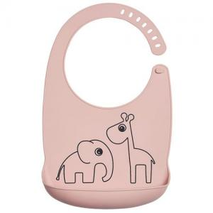 Done By Deer Bib In Silicone Deer Friends Powder Pink