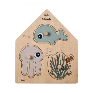 Done By Deer Peg puzzle Sea Friends Multi color