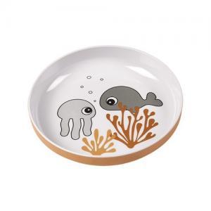 Done By Deer Yummy Mini Plate Sea Friends Mustard / Grey