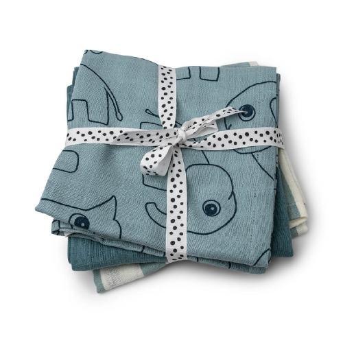 Done By Deer Burp Cloth 3 pcs Deer Friends Blue GOTS