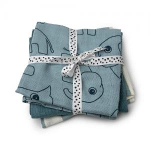 Done By Deer Burp Cloth 3 pcs Deer Friends Blue GOTS