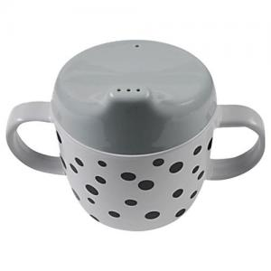 Done By Deer 2-handle spout cup Happy dots Grey