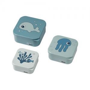 Done By Deer Snack Box 3 Pack Sea Friends Blue Blå