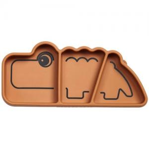 Done By Deer Plate 3-piece Silicone Plate Croco Mustard