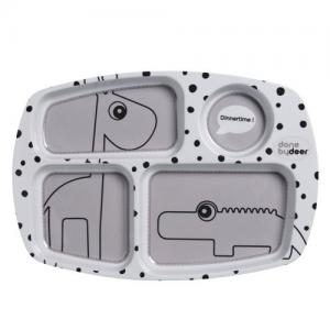 Done By Deer Compartment plate Happy dots Grey