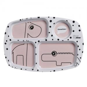 Done By Deer Compartment plate Happy dots Powder Pink