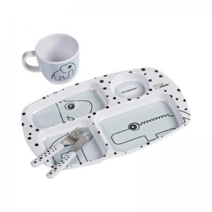 Done By Deer Toddler Dinner Set Happy Dots Blue
