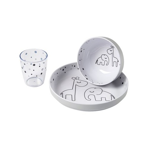 Done By Deer Yummy Mini Dinner Set Dreamy Dots Grå (Tallrik, Skål & Mugg)