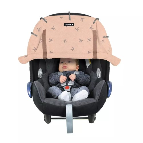 Dooky Cover for Stroller & Car Seat Swallows Pink