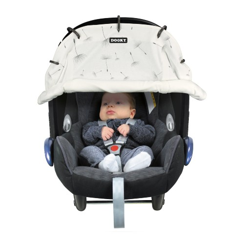 Dooky Universal Sun Cover for Stroller & Car Seat White Dandelion