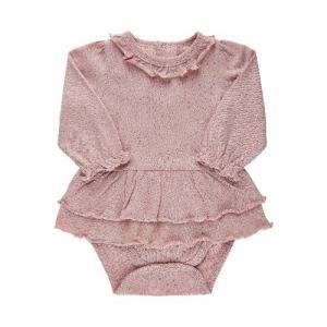 Fixoni Body Dress Long Sleeve Ruffles Light Pink