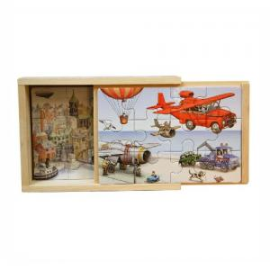 Aircrafts Four Puzzles in a wooden box 12-pieces