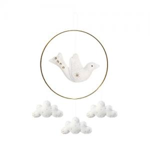 Gamcha Mobile Bird Clouds Pearls White