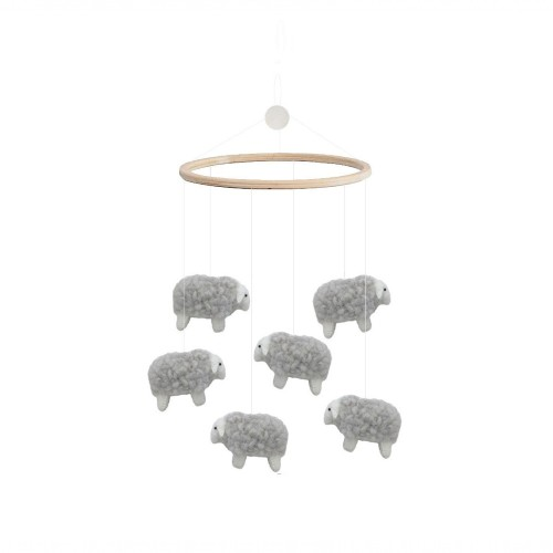 Gamcha Bed Mobile Sheep Grey