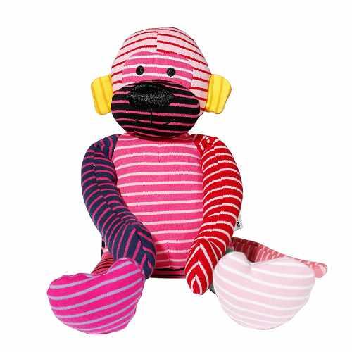 Geggamoja Stuffed Animal Kokki Monkey Mixed Colors Pink 30 cm