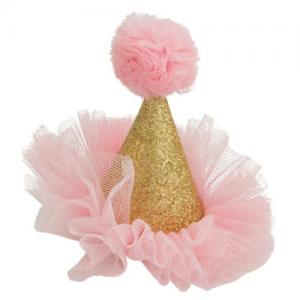 Global Affairs Hairpin Party Hat Pink & Golden