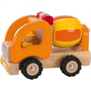 Goki Concrete Car In Wood Yellow/Orange