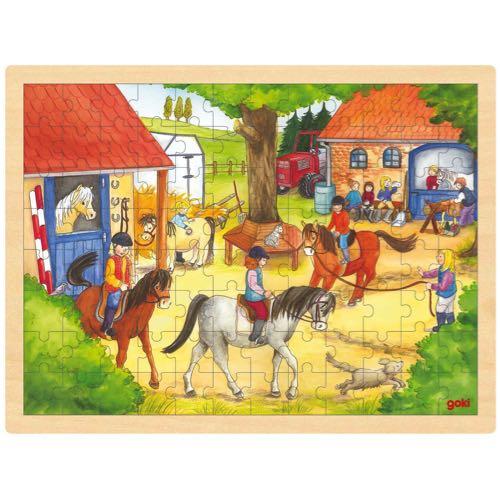 Goki Pussel Hästar i trä 96 bitar