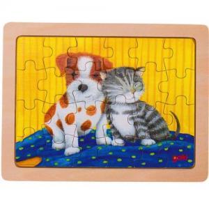 Goki Pussel i Trä 24 bitar 3+ år Hund & Katt