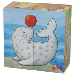 Goki Puzzle in Wood with 4 Cubes 6 Different Designs Animal Babies