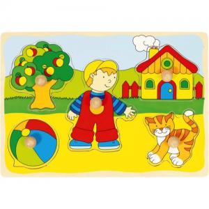 Goki Knob Puzzle In Wood 5 Pieces With Background Play In The Garden