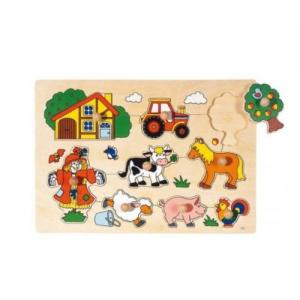 Goki, Lift Out Puzzle, Wooden, 8 Pieces, (Farm animals for 1+ years)