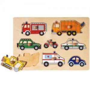 Goki Knob Puzzle In Wood 8 Pieces Vehicles For 1+