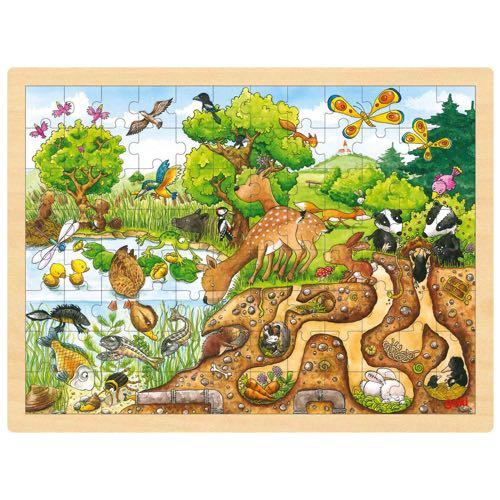Goki Pussel Rådjur i natur i trä 96 bitar