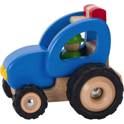 Goki Tractor In Wood Blue